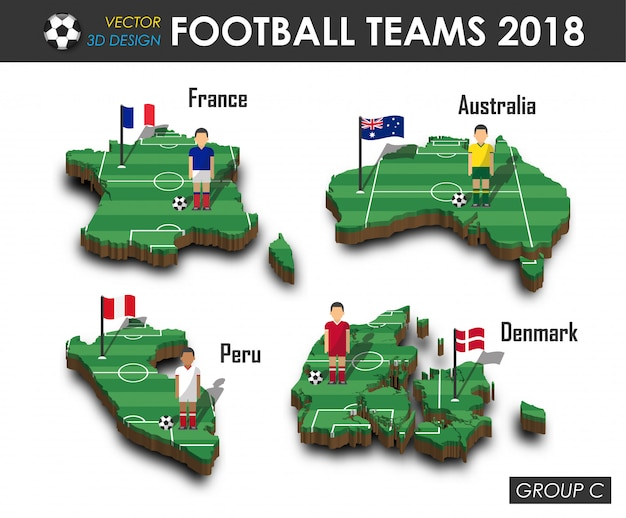 Football player and flag on 3d design country map. Premium Vector
