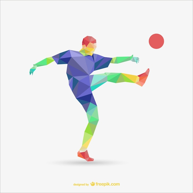 Football Player Polygonal Template Vector Free Download