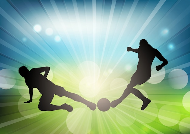 Football player silhouettes on a defocussed background Free Vector