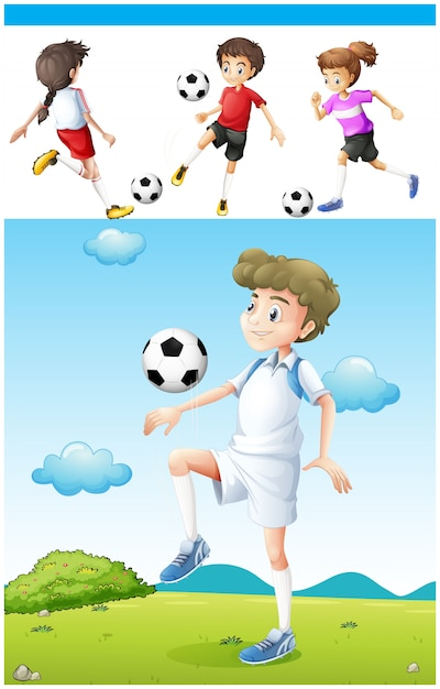 Football players practicing football\ illustration