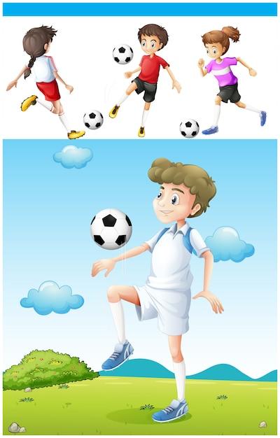 Football players practicing football\ illustration