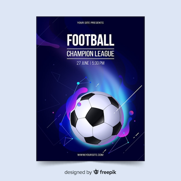 Football poster template liquid effect Free Vector