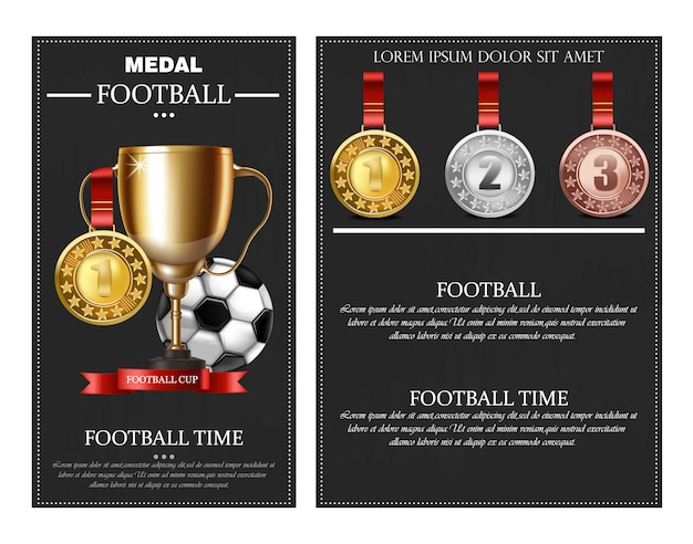 Football prize and medals Premium Vector