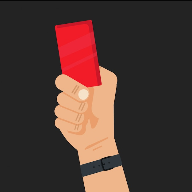 Football referee hand holding a red card Premium Vector
