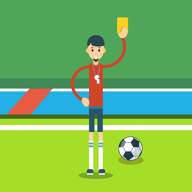 Football referee show yellow card Premium Vector