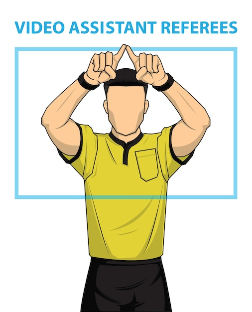 Football referee shows video assistant referees action. Premium Vector