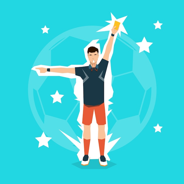 Football referee whistle show red card Premium Vector
