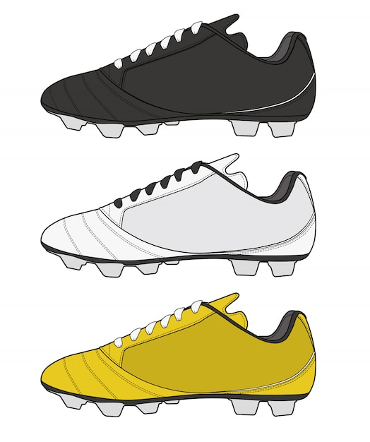Football Shoes Fashion Flat Technical Drawing Template Vector