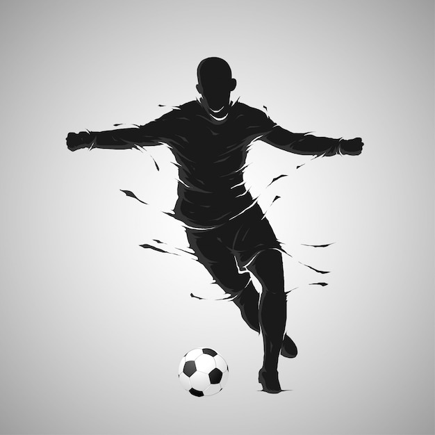 Football soccer ball posing dark silhouette Premium Vector