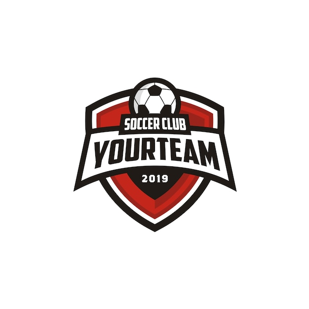 Football soccer club emblem badge logo design Premium Vector