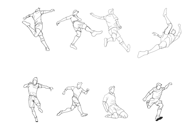 Football or soccer doodle by hand drawing. Premium Vector
