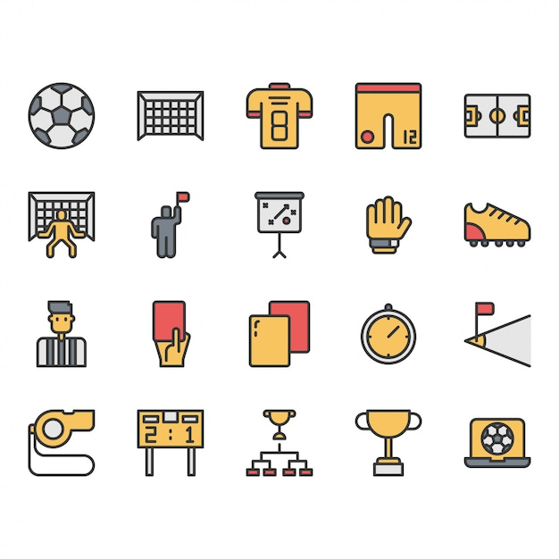 Football or soccer equipments icon and symbol set Premium Vector