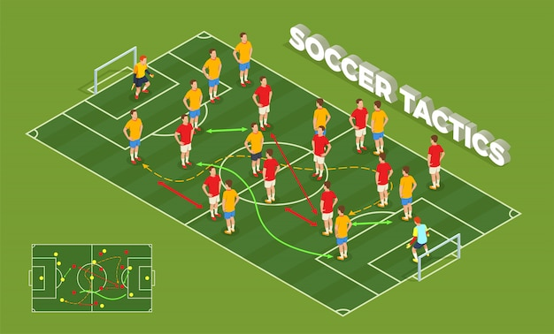 Football soccer isometric people composition with conceptual image of playground and football players with colourful arrows illustration Free Vector