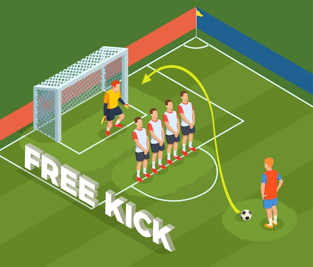 Football soccer isometric people composition with play ground court and player characters defensive wall and goalkeeper Free Vector