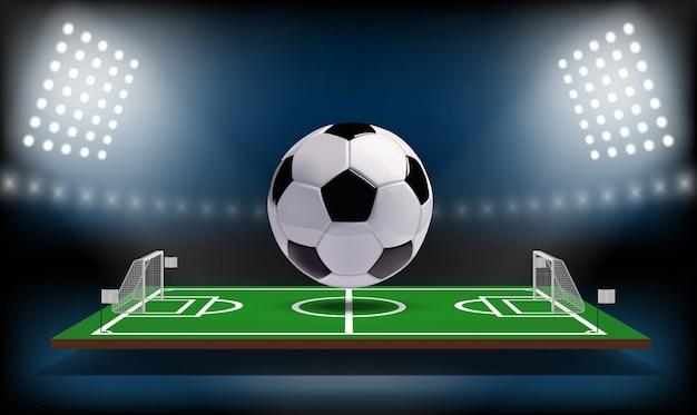 Football or soccer playing field 3d ball. Premium Vector