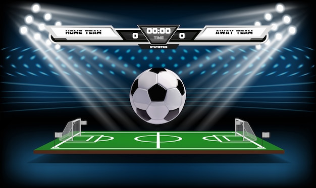 Football or soccer playing field with infographic elements and 3d ball. Premium Vector