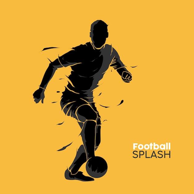 Football soccer splash silhouette Premium Vector