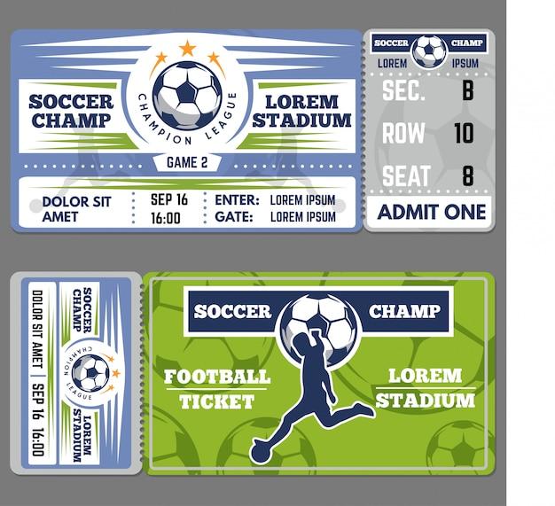 Football or soccer ticket template Premium Vector