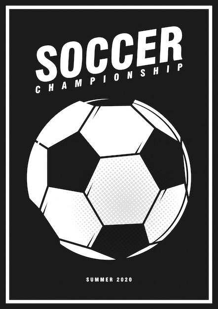 Football Soccer Tournament Sport Poster Design Banner With Pop Art Style Ball On Black Premium Vector