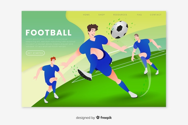 Football sport landing page Free Vector