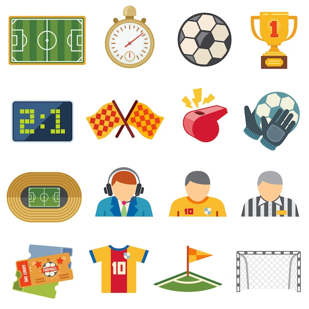 Football sports flat vector icons. soccer game symbols Premium Vector