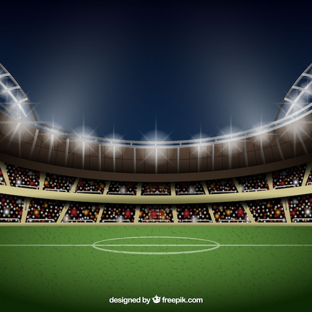 Football stadium background in realistic style Free Vector