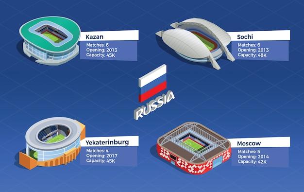 Set isometrico stadio di calcio Vettore gratuito