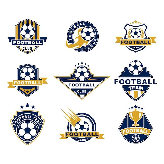 축구 팀 또는 클럽 플랫 레이블 설정 무료 벡터