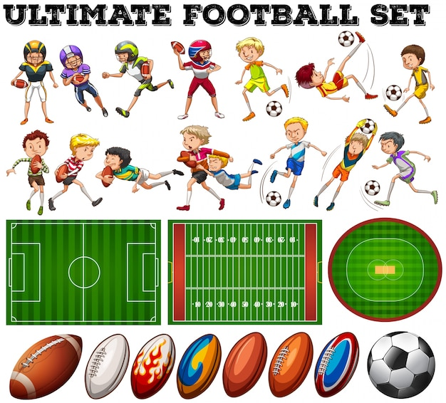 Football theme with players and ball\ illustration