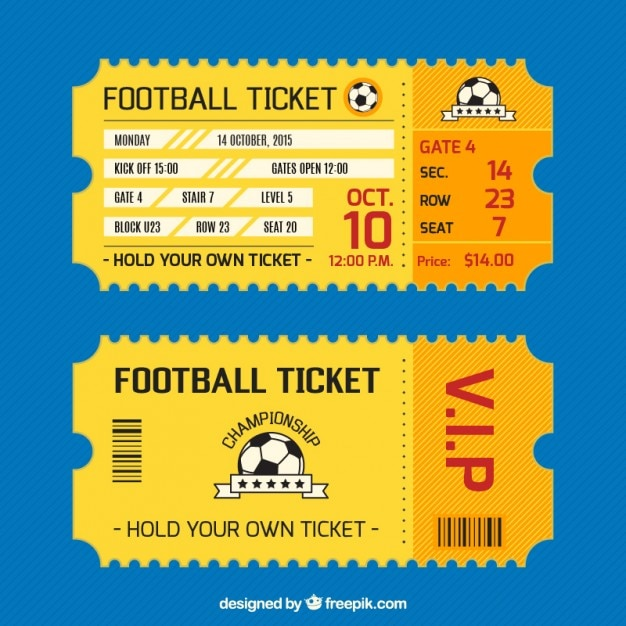 football ticket card vector free download
