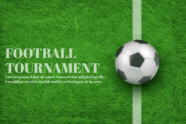 Football tournament 3d realistic banner Free Vector