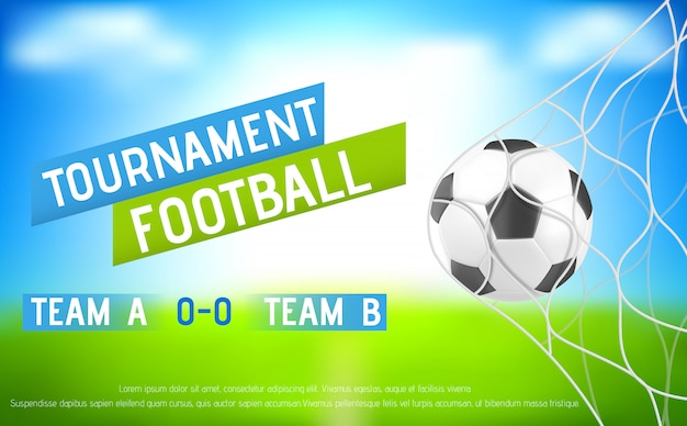 Football tournament banner with ball in goal net Free Vector