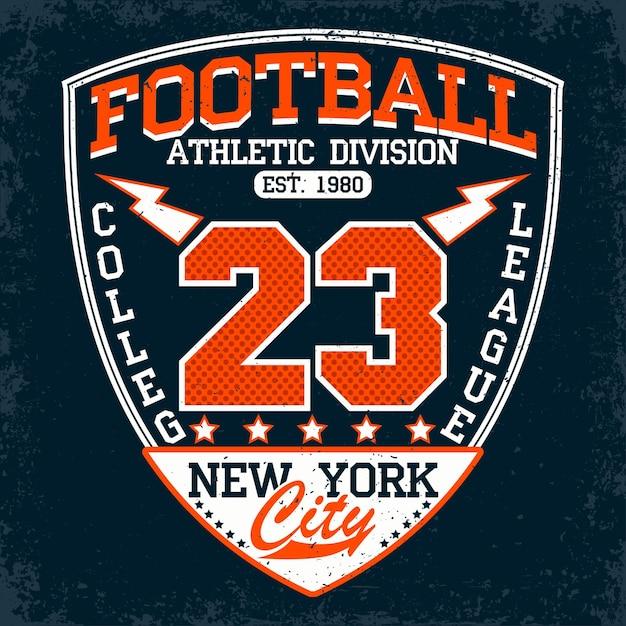Football typography emblem, sports logo Premium Vector