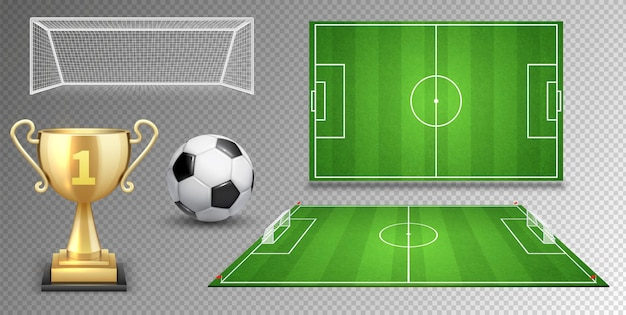 Football vector elements. soccer ball golden cup green fields goals. Premium Vector