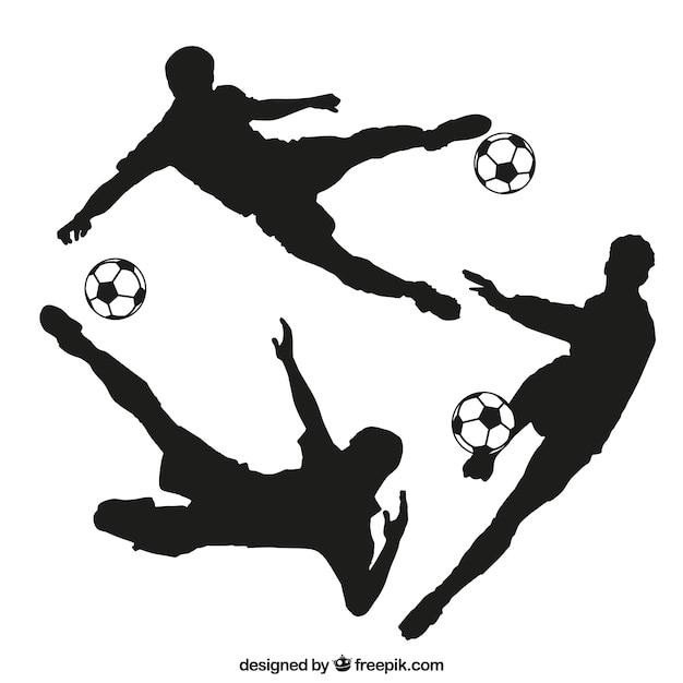 Footballer silhouettes Premium Vector