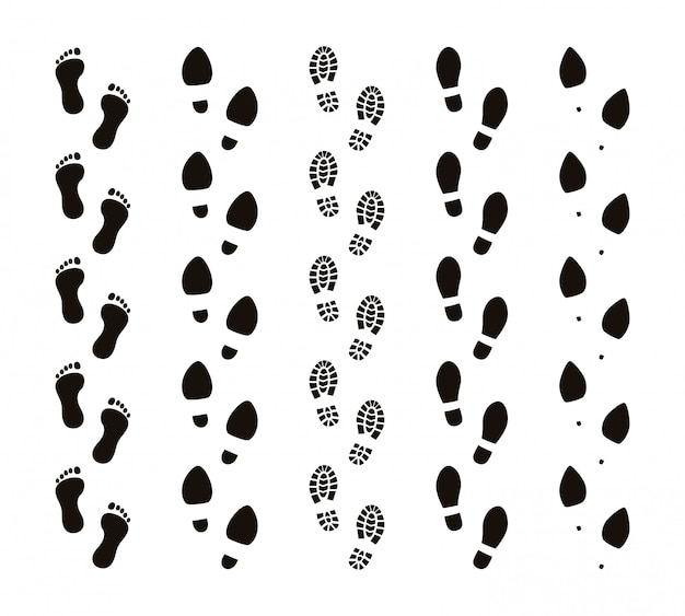 Footprint trails. bare feet human footsteps, funny people foot steps, follow concept, black silhouettes. footprints route set Premium Vector