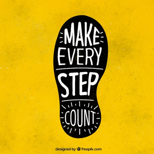 Footprint with inspiring message Free Vector