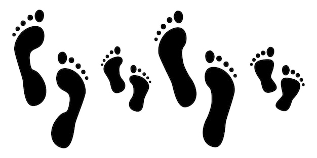 Footprints human silhouette, set, isolated on white background. illustration. Premium Vector