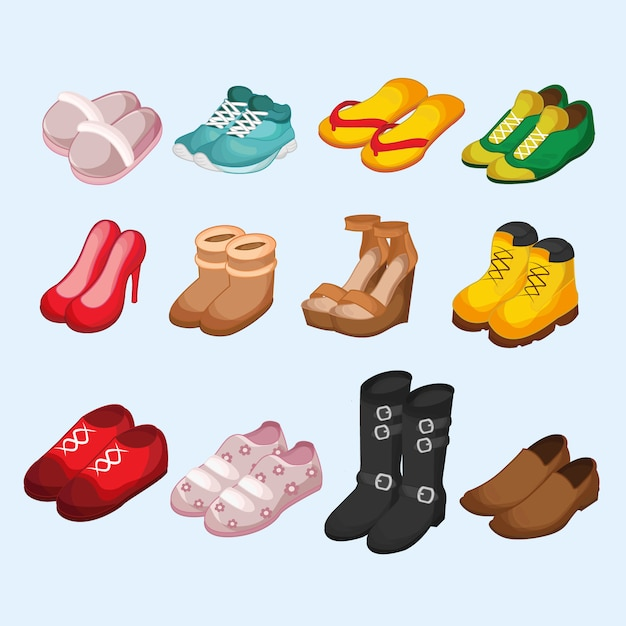 Footware isometric set Premium Vector