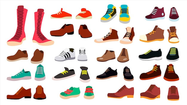 Footwear set Premium Vector