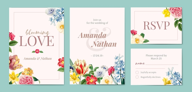 Foral styled invitation template Free Vector