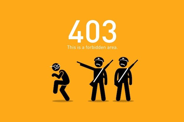 Forbidden. artwork depicts a funny and humorous scenario with human stick figure for website http request error. Premium Vector