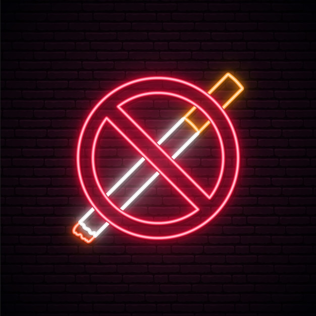 Запрещено курить неоновая вывеска. Premium векторы