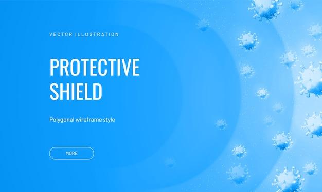 Силовое поле от вирусов в абстрактном многоугольном стиле на светлом фоне. векторная иллюстрация защиты от инфекционного агента. вирусный щит или воздушный поток с бактериофагами Premium векторы