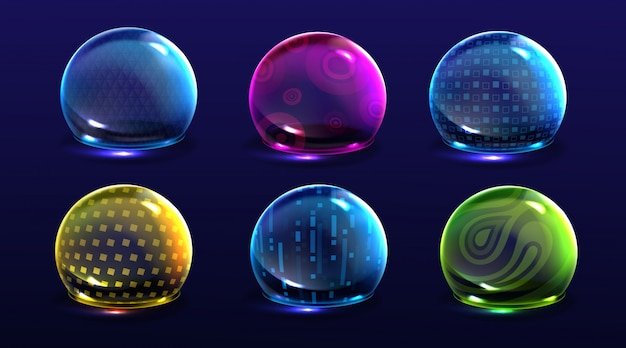 Force shield bubbles, color energy glowing spheres or defense dome fields. science fiction various deflector elements, firewall absolute protection isolated Free Vector