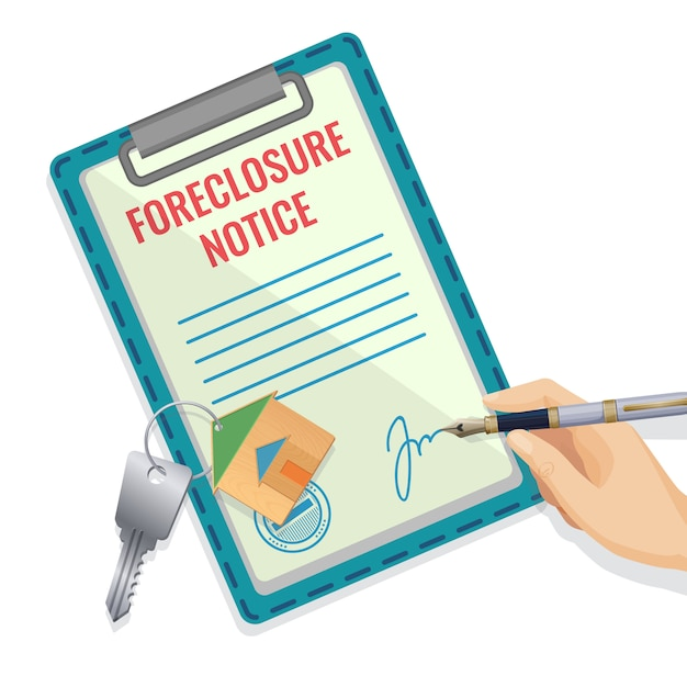 Foreclosure document pattern with hand and signature Premium Vector