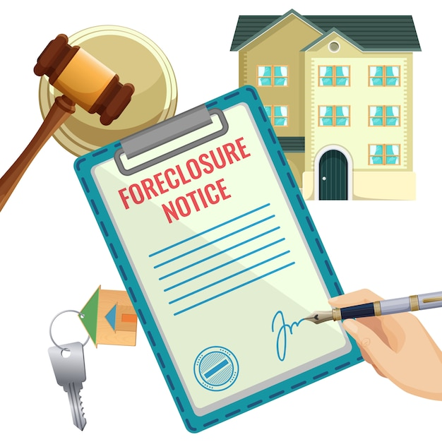 Foreclosure process selling document Premium Vector
