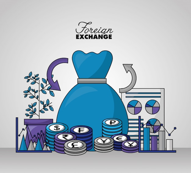 Foreign exchange background Free Vector