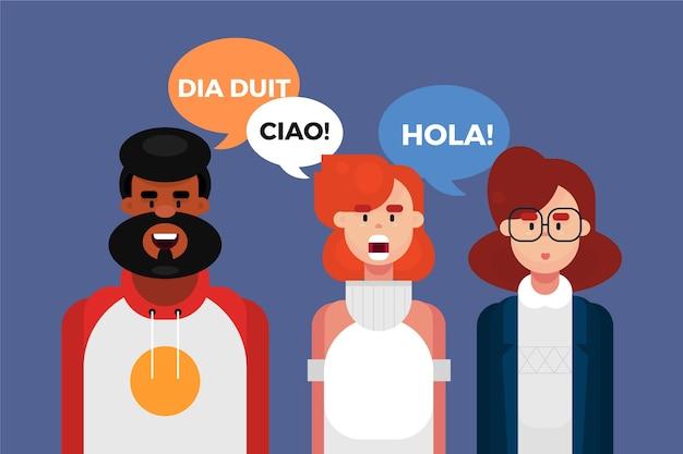 Иностранцы разговаривают на разных языках Бесплатные векторы