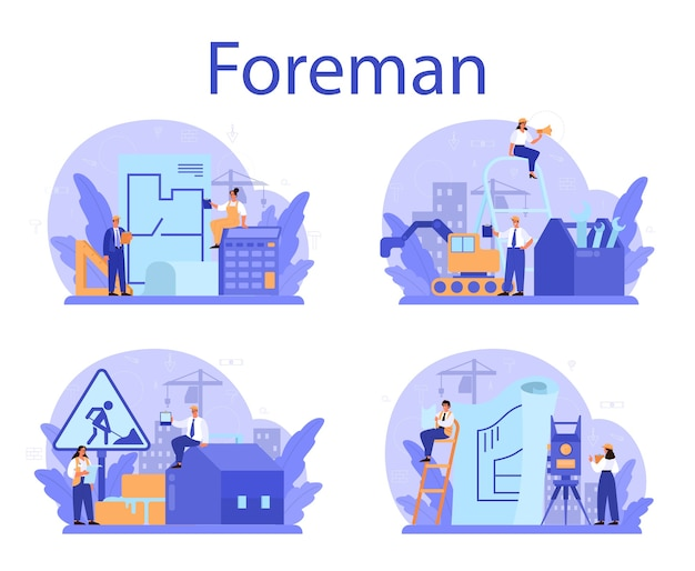 Foreman concept set. main engineer leading at construction site. Premium Vector